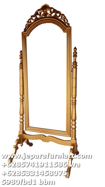mirror stand mahogani gold