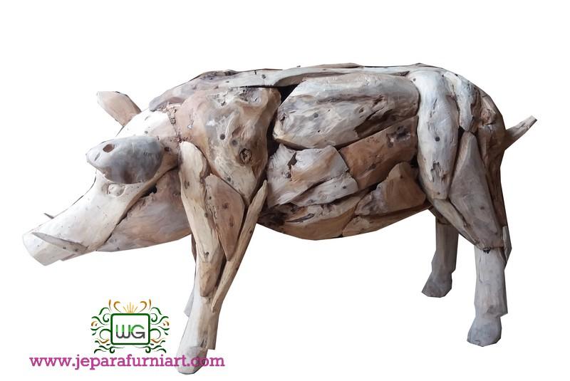 patung babi teak recycle