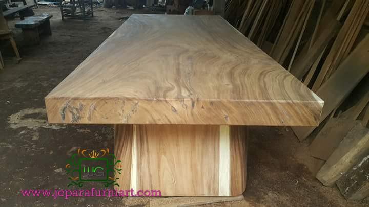 meja makan blok kayu trembesi