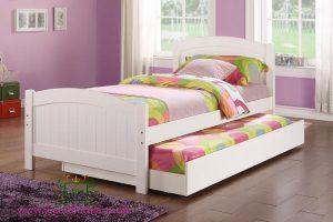 Tempat Tidur Mahoni Cat Duco Putih