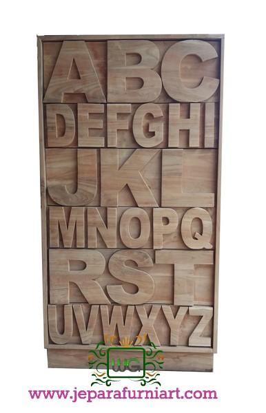 Almari Laci Jati Alfabet