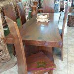 Meja Makan Natural Kayu Meh dan Kursi
